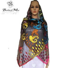 New African Small Scarf,plain net embroidery muslim women small scarf with rhinestones,small size scarf for shawls