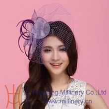 Free Shipping New Women Fascinator Hat Purple Hair Accessory Wedding Hair Accessories Hairdress Feather Flower Mesh Veiling Clip