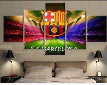 5 Panel Canvas Printed La Liga Barca LOGO Painting For Living Picture Wall Art HD Print Decor Modern Artworks Football Poster