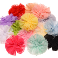 15PCS Chiffon Raw edge Flower 7cm Puffy Flower Shabby Chic Frayed Flowers Rosette Chiffon Flower Accessories No Clips(China)