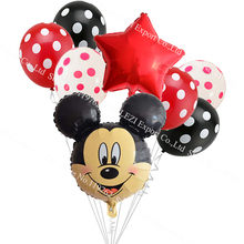 8pcs/lot Minnie Mickey Mouse head Happy Birthday Foil Balloons Decoration Cartoon Party supplies 2.8g wave point latex Balloon