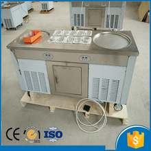Free shipping by sea 220/110V double round pan with 10 cooling tank commercial fried ice cream roll machine price
