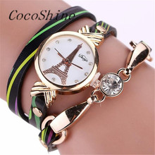 CocoShine A-829 Fashion Women Leather Stainless Steel Bracelet Quartz Dress Wrist Watch Relogios!Support wholesale wholesale(China)