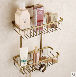 High quality brass antique finished bathroom shelves with hooks basket shampoo holder bathroom soap holder bathroom accessories<br>