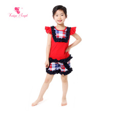 Kaiya Angel US Patriotic Children Clothing Ruffle Top Shirts Shorts Suit Boutique Outfits 4th Of July Kids Summer Clothes Plaid