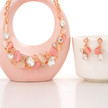 ZOSHI Womens Girls Rose Gold Color African Beads Costume Jewelry Sets Pink Peal Rhinestone Crystal Luxurious Bridal Jewelry 2pcs