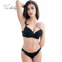 Varsbaby New sexy lace bra set solid flower three quarters women underwear(China)
