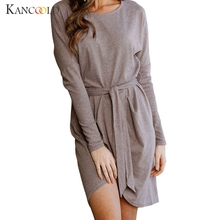 KANCOOLD 2017 fashion high quality dress noue UK Womens Winter Long Sleeve Dresses Party Cocktail Mini Dress oct24(China)