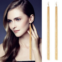 Tassel Long Earrings New Arrival Female Fashion Brand Jewelry Gold/Silver Jewelry Exaggerated punk Dangle Earring(China)