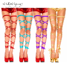 Buy Sexy Metallic PVC Faux Leather Glisten Lingerie Stockings Tights PANTY Pole Dancing Nightclub Party Sexy Straps Leg Ring Sw063