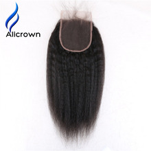 ALICROWN Kinky Straight 5*5 Lace Closure For Black Women With Baby Hair Natural Color Brazilian Remy Human Hair Bleached Knots