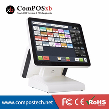 15 inch TFT LCD Dual Screen All In One POS System Cash Register For E-shop