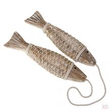 5x Set of 2 Hand Carved Hanging Wood Marine Fish Home Shop Wall Hanging Decoration Christmas Gift BULK(China)