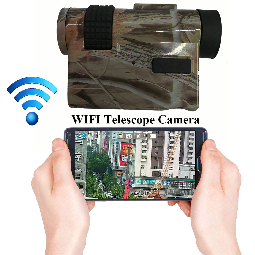 720P WIFI HD Digital Telescope Camera with 10X25 Monoculars & Max 32Gb TF Card for Video Recording Free APP Remote Monitoring_F1