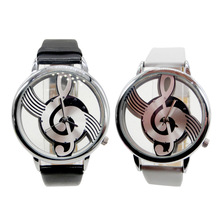 White Leisure Style Inlaid Rhinestone Hollow Musical Notation Engraving With Delicate Quartz Dial Wrist Lady's Watch  LL