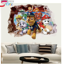 3d dogs puppy patrol stickers Classic Toys animal mural arts print movie poster Pawed toys Action Toy Figures