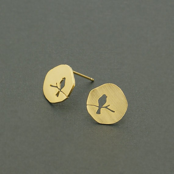 30Pcs/lot 2016 New Fashion Cute Mini Gold Silver Rose Gold Color Hollow Animal Bird On A Branch Stud Earring for Women ED089