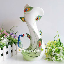 ceramic creative Peacock flowers vase pot home decor crafts room wedding decorations handicraft porcelain figurines(China)