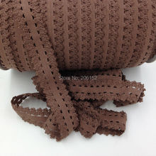 Brown Frilly Edged Elastic Lace Ribbon 7/8inch Picot Trim Lace Elastic for Kids Headband DIY Hair Accessories 100Y/Lot/Color(China)