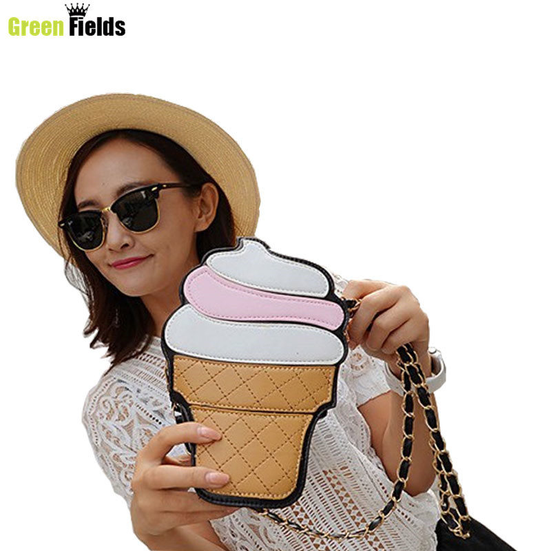 New fashion personality ice cream popcorn embroidered shape chain shoulder bag messenger bag lady handbag clutch purse  XA1205B<br><br>Aliexpress
