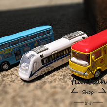 1:64 Alloy car model kids toys City series subway tour bus Park bus 3pcs Children like the gift Family Decoration(China)