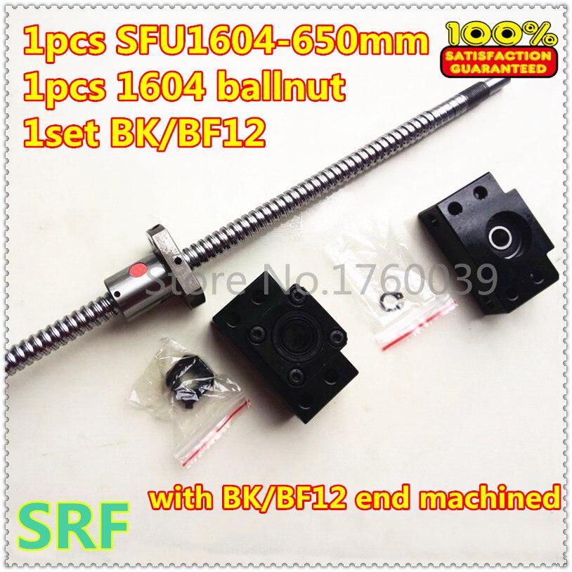 Hot sale 1pcs 1604 Rolled Ball Lead Screw Length 600mm +1pcs SFU1604 single ballnut+1set BK/BF12 ballscrew end support CNC<br>