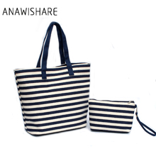 ANAWISHARE 2017 Women Handbags Canvas Ladies Summer Beach Bags Large Shoulder Bag Striped Printing Female Shopping Bags Bolsa(China)
