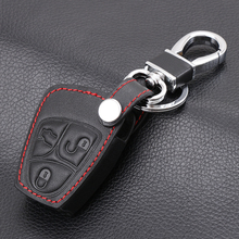 Car Styling ,3 buttons Genuine Leather Remote key cover shell Keychain for Mercedes Benz B C E ML S CLK CL Classe car key case(China)