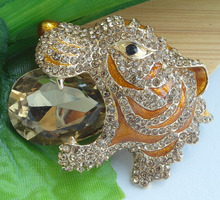 "HelenaJewelry 2.36"" Gold-tone Brown Rhinestone Crystal Tiger Brooch Pin EE06512C2"