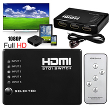 TECKEPIC 1080p 5 PORT HDMI Switch Selector Switcher Splitter Hub + iR Remote for HDTV/Xbox 360/Play station/media player(China)