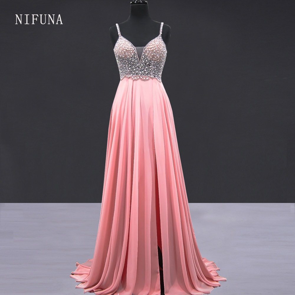 vestido de noche Sexy V-neck Backless Prom Dresses Gorgeous Pearls Beaded Nude Chiffon Evening Dress 2018 Robe longue soiree(China)