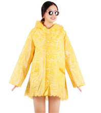 Candy Yellow Solid Color Riancoat for girls Lace Waterproof Raincoat Women Wind Coat Rain Cape Poncho