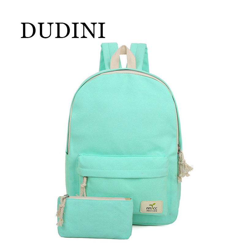 DUDINI Solid Color Women Backpack High Quality Cute Canvas Backpack Female School Bags For Teenagers Mochila Escolar<br><br>Aliexpress