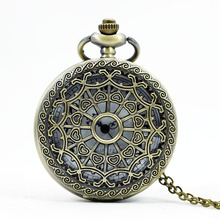 PB152 Retro Classical Spider Web And Heart Copper Hollow Quart Pocket Watch With Chain Men Women Watch Gift
