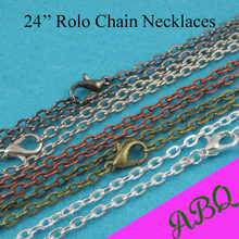 24 inch Rolo chain Neecklace, 60cm Metal necklace Chains - Silver, Bronze, Copper, Antique Silver, Gunmetal, Black
