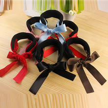 Colorful Women Meatball Head Bowknot Hair Band Sponge Cloth Fabric Hair Ropes Headdress Flower Inexpensive