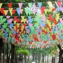 Colorful Triangle Pennant Nylon Flags 38m String Banner Buntings Festive Party Events Decorative Accessories Outdoor Camping