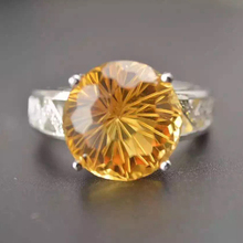 ZT Classic Lover 925 Sterling Silver White Or Rose Color Rings Firework cut 8ct 12mm Citrine Jewelry For Lovers Ring For Women