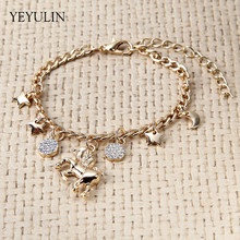 High Grade Unicorn Horse Star Moon Gold Silver Color Alloy Pendant Bracelet For Women Girl Bangles Jewelry(China)