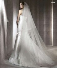 In Stock Two Layers Simple Edge Sweep Train Long White Bridal Veils Wedding Veils Bridal Accessories
