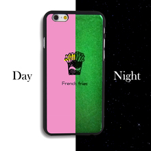 For iPhone4 4s 5 5s SE 5c 6 6s 6plus 6splus  French fries New Design Cover Clear PC Noctilucent Phone Case