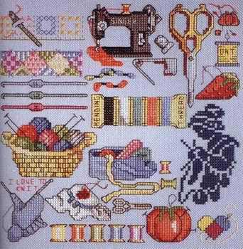 CS-1435 cross stitch kit I love to sew sewing treasure tools needle work.jpg