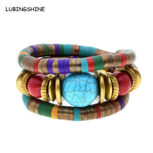 LUBINGSHIN Tibetan Antique Bronze Snake Bracelets Jewelry Resin stone Inlay Roundness Bead Flexible Bracelet Bangles JJAL B377(China)