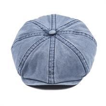 VOBOOM azul marino algodón lavado Newsboy Cap hombres mujeres 8 Panel  casquillos planos conductor Baker Boy faedf9c37f9
