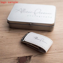 Custom Unique Wedding Photography Leather Metal USB 3.0 Memory Stick Flash Drive 4GB 8GB 16GB 32GB 64GB (over 30pcs free logo)
