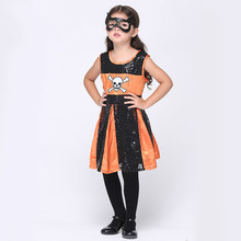 Halloween Pirate Costumes Girls Orange Skull Dress + Eye Mask Party Cosplay Costume Role Playing Cop Cos Outfits Performance(China)