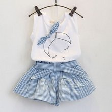 Summer 2pcs Baby Girls Suits Cute Clothes Sets White T Shirt and Plaid Blue Pants for 2-6 Years LH6s(China)