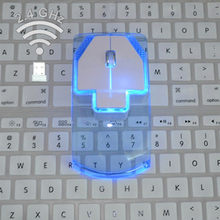 2.4GHz Wireless Optical Mouse Unique Ultra Thin Transparent Style Wireless Mouse Fashion Colorful Luminous Mouse(China)