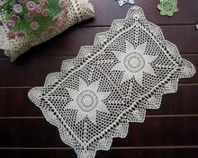 Fashion DIY crochet white table cloth towel cover dining doilies lace cotton rectangular tea tablecloth for home wedding decor