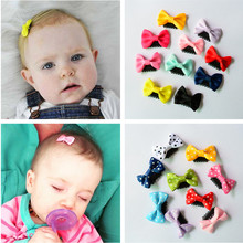 10 Pcs/lot Solid Dot Pringting Mini Small Bow Hair Clips Hair Clips Kids Hair Accessories(China)